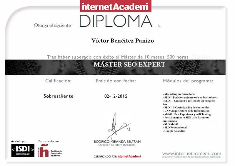 Diploma SEO Víctor Benéitez